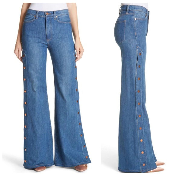 dc0dca9a38 ALICE + OLIVIA Snap Side Flare Jeans NWT 27 (4)